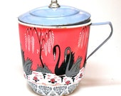 1950s Tin Toy Tea Pot. Swans. Made by Ohio Art.