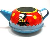 1950s Tin Toy Tea Pot. Circus seal. Made by Ohio Art.