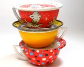 1950s Tin Toy Tea Cups Saucers. Set of 6 with Pluto, lamb, coffee. Instant Collection.