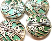 """Art Nouveau BUTTONS, 4 Antique Edwardian flowers in green, 5/8"""" Made in Austria."""