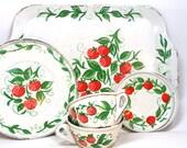 Strawberries Tin Toy Tea Set. 7 pieces by J. Chein.