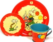 SCARCE 30 39 s Tin Toy Tea Setting, Bunny Birthday Party by Fern Bisel Peat. 3 piece setting.