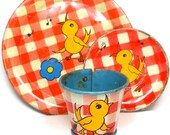 30s Tin Toy Tea Setting. Singing Canary. By Ohio Art Co.