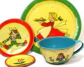 Jack Jill 1930s Tin Toy Tea Setting, 4 pieces by Ohio Art Co. Cup, saucer, plate, butter pat.