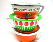 60s Tin Toy Tea Cups Saucers. Apples, flower cart. Instant Collection. Set of 6.