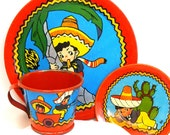 40 39 s tin toy tea set with The Little Mexican Boy litho by Ohio Art Co.