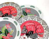 60s tin Tea plates, bird flowers in pink, gray, white. Set of 4 with lithograph by J Chein.