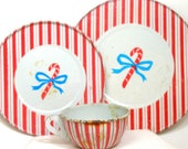 Candy Cane Tin Toy Tea Set. Christmas Stripe setting, by J Chein. Cup, saucer, plate.