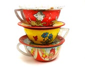 50s Tin Toy Tea Cups Saucers, Set of 6 with puppy, lamb and pelican.