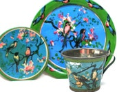 30s Tin Toy Tea Setting, Bluebirds Blossoms, by Ohio Art Co.