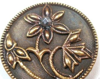 """Antique metal BUTTON. 1900s Art Nouveau Flower with cut steel. 1.25"""""""