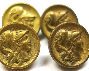 "4 Antique Minerva Mythology BUTTONs, Victorian storybook button, Athena. Paris back. 7/16"""