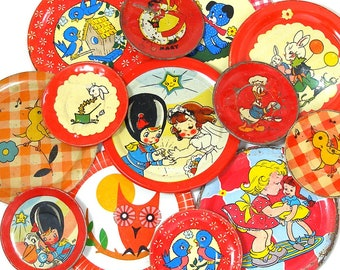 13 Tin Toy tea saucers in reds, 1950s-1960s graphics. Instant Collection. Vintage decor.