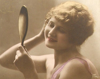 1920s French postcard. Lady with mirror. RPPC paper ephemera. Real photo postcard. Antique Carte Postale. Vintage collectible.
