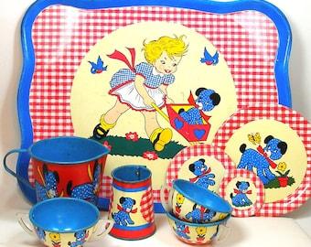 50's Tin Toy Tea Set, Polka Dot Puppy. 12 pieces by Ohio Art.