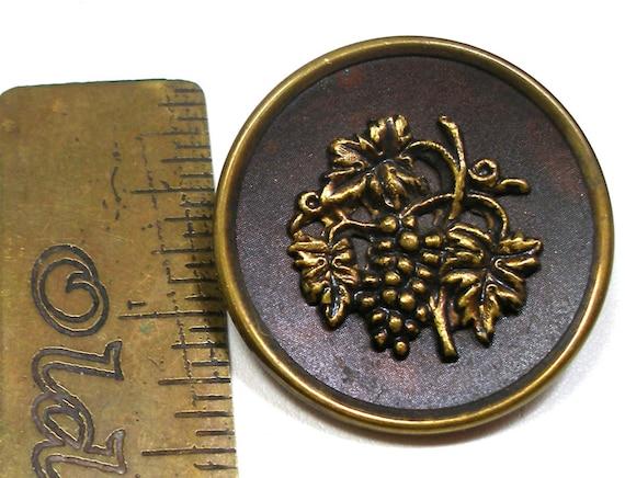 1800s Victorian pears Antique metal fruit BUTTON 1 716