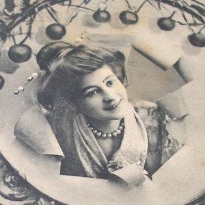SALE Antique French postcard Price reduced. paper ephemera RPPC Edwardian lady with fruit