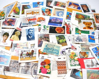 600+ US postage stamps, assorted. On paper. Only .02 cents/stamp. Great for jewelry, altered art & mixed media. Set K. SALE