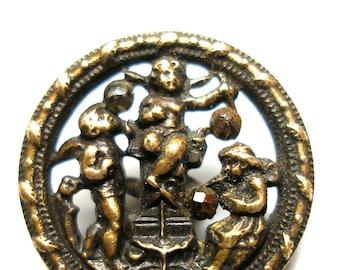 "Cherubs blowing bubbles, Antique BUTTON, Victorian brass cupids with cut steel, 3/4""."