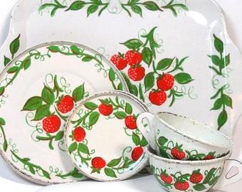 Strawberries Vintage Tin Toy Tea Set. 7 pieces by J. Chein.