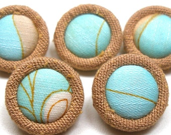 """1960s vintage BUTTONs. Cloth covered, turquoise & beige. Set of 5. 3/4""""."""