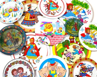 13 Tin Toy tea saucers. Storybook, fairy tales. Instant Collection. Ohio Art Co. Vintage Decor.
