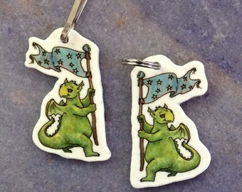 Dancing Green Dragon art charm for backpack, phone, necklace, keychain, zipper....