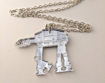 At-At Mirrored Silver Necklace, Star Wars Lasercut GeekStar Geek Jewelry