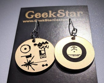 Voyager Golden Record Lasercut Earrings, NASA Laser Engraved GeekStar Space Jewelry