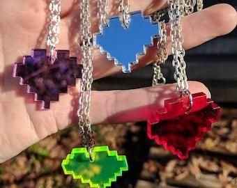 Pixel Heart Necklace, 8bit Retro GeekStar Cute Acrylic Jewelry