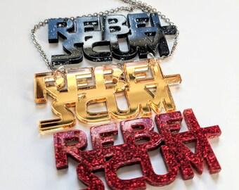 Rebel Scum Lasercut Gold Red Black Glitter Star Wars GeekStar Necklace, Geek Jewelry Statement Necklace