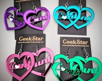 Giant C*nt Shiny Heart Earrings, GeekStar Lasercut Custom Color Mirrored Lightweight Handmade Jewelry