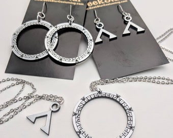 Stargate Silver Acrylic Lasercut Jewelry. Geeky Necklace and Earrings.