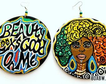 Beauty Looks Good on Me Earrings (Wearable Art) BOABW Hand Painted Earrings