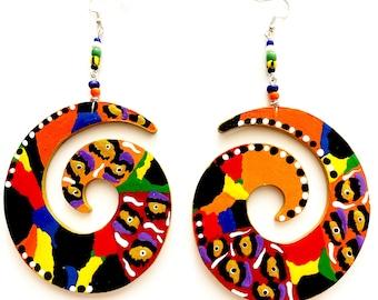 Swirl Colorful Orange  Earrings (Wearable Art) Hand Painted Earrings BOABW