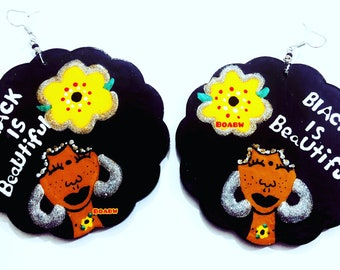 BOABW'S Black is Beautiful Earrings (Afrocentric Hand Painted Earrings