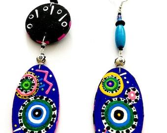 Evil Eye Protection Earrings (Wearable Art ) Hand Painted Earrings Spiritual earrings BOABW