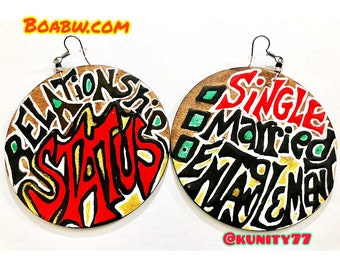 What's your Relationship status (entanglement) Earrings Hand Painted Earrings Statement Earrings BOABW