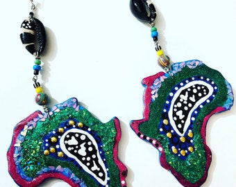 Africa is Colorful Earrings (Few of a Kind pair will be made) Hand Painted Earrings Handmade Afrocentric designs BOABW