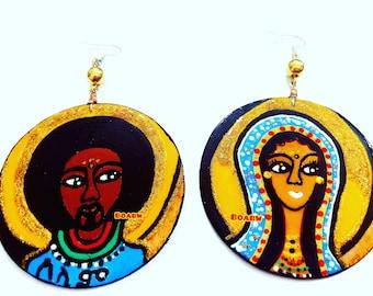 BOABW'S Peace ሰላምselami (የሱስ yesusi Jesus & ማሪያ marīya Mary Earrings) Ethiopian Art Hand Painted Earrings Wearable Indigenous Art