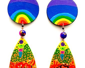 Aura Henna Drop Earrings (Wearable Art) Hand Painted Earrings BOABW