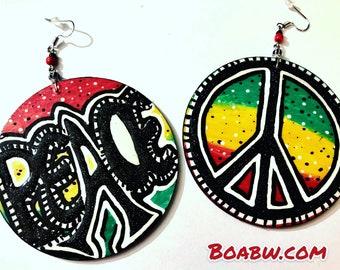 Peace Rasta Earrings (HANDMADE) Hand Painted Earrings Wearable Art BOABW