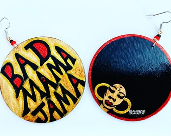 Bad Mama Jama (Hand Painted Earrings) Afrocentric Afro Earrings Wearable Art BOABW