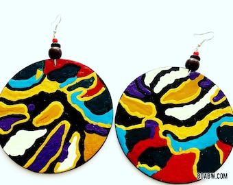 360 degrees of the earth Earrings (Wearable Art) Hand Painted Earrings Handmade BOABW
