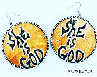 She is God (Hand Painted Earrings) Statement Earrings Wood Wearable Art BOABW