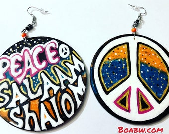It's the Peace for me Earrings Handmade Hand Painted Earrings Shalom Salaam Peace Wearable Art