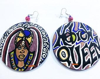 BOABW'S Hebrew Queen Earrings (Hand Painted Earrings) Wearable indigenous Art