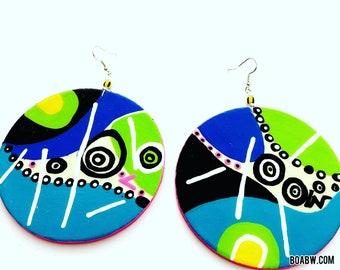 My Art is Dope Earrings (Wearable Art) abstract  Hand Painted Earrings BOABW