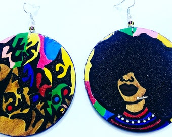 It's the Hair for Me Earrings universal reflection of Many (Hand Painted Earrings) Afrocentric Wearable Art Afro Art BOABW
