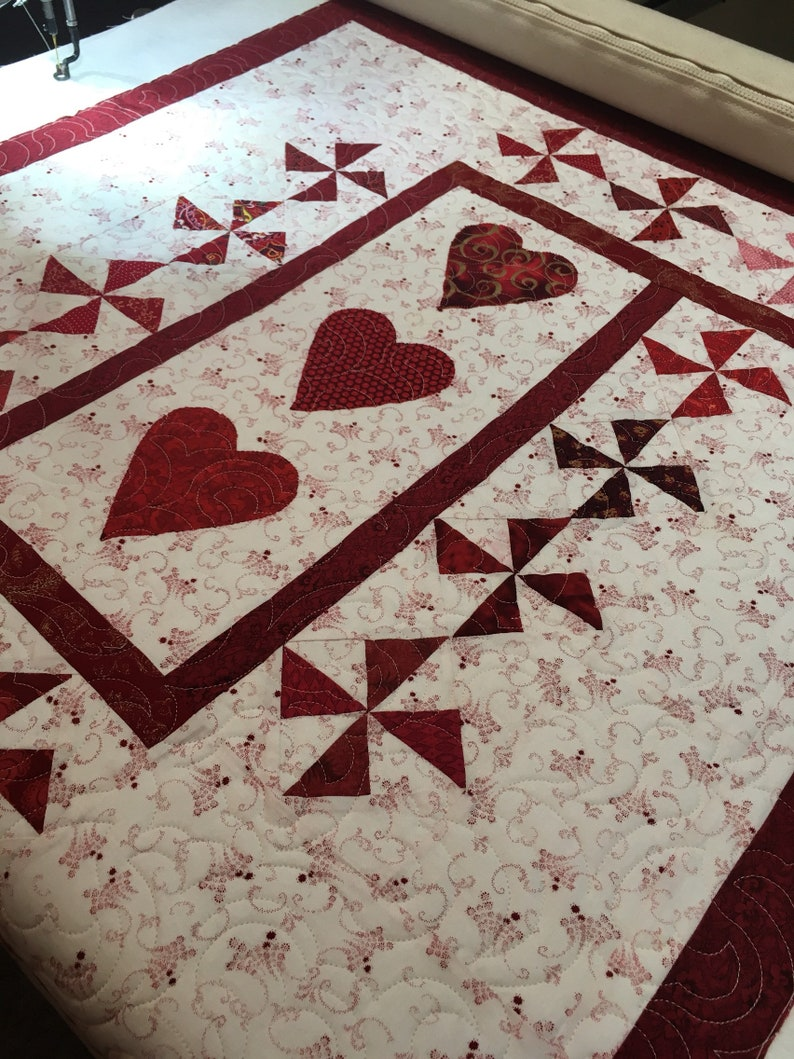Vintage Quilt Quilted Heart wall hanging Heirloom Quilted image 0
